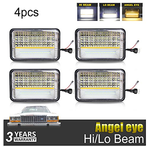 LED Rectangular Headlight 4x6 inch Projector 4PCS Sealed Beam Replacement Hi/Lo Beam DRL Fits Headlamp Bulb for Chevrolet Kenworth Freightliner, 1002A-Y-4pcs, Colight