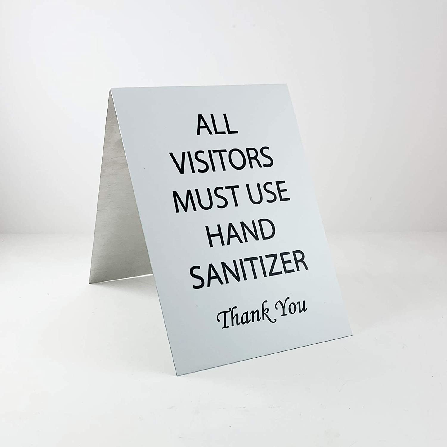 """NapTags All Visitors Must Sanitize Hands Sign for Front Desk, Office, Classroom, Aluminum, 2-Sided, Pack of 2 (5"""" x 7"""")"""