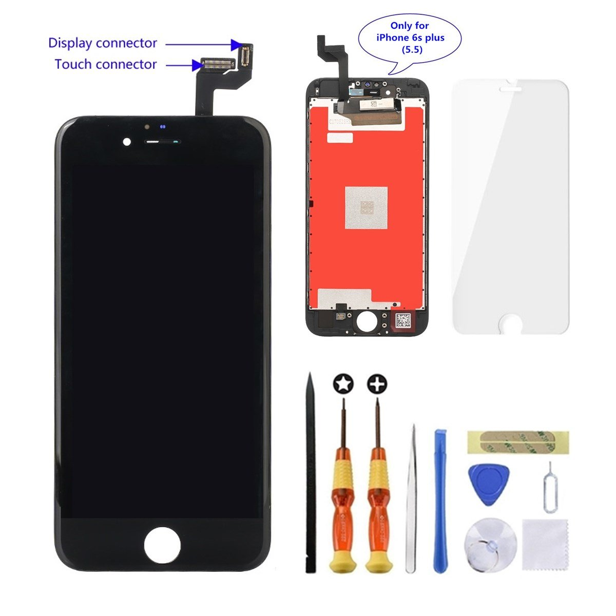 sale retailer a1e1d 30885 GULEEK iPhone 6s Plus Screen Replacement 5.5 inch LCD Display 3D Touch  Screen Digitizer Assembly Replacement Screen with Repair Tool kit/Tempered  ...