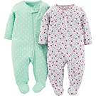 Child Of Mine Made By Carter's Baby Girls' 2 Pack Sleep N' Play - Flowers (0-3 Months)