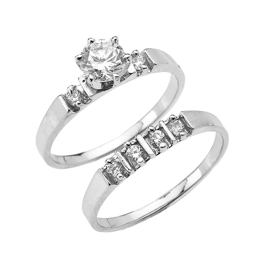 1.3 Carat Total CZ Weight 10k White Gold Elegant Engagement Wedding Ring Set (Size 9.5)