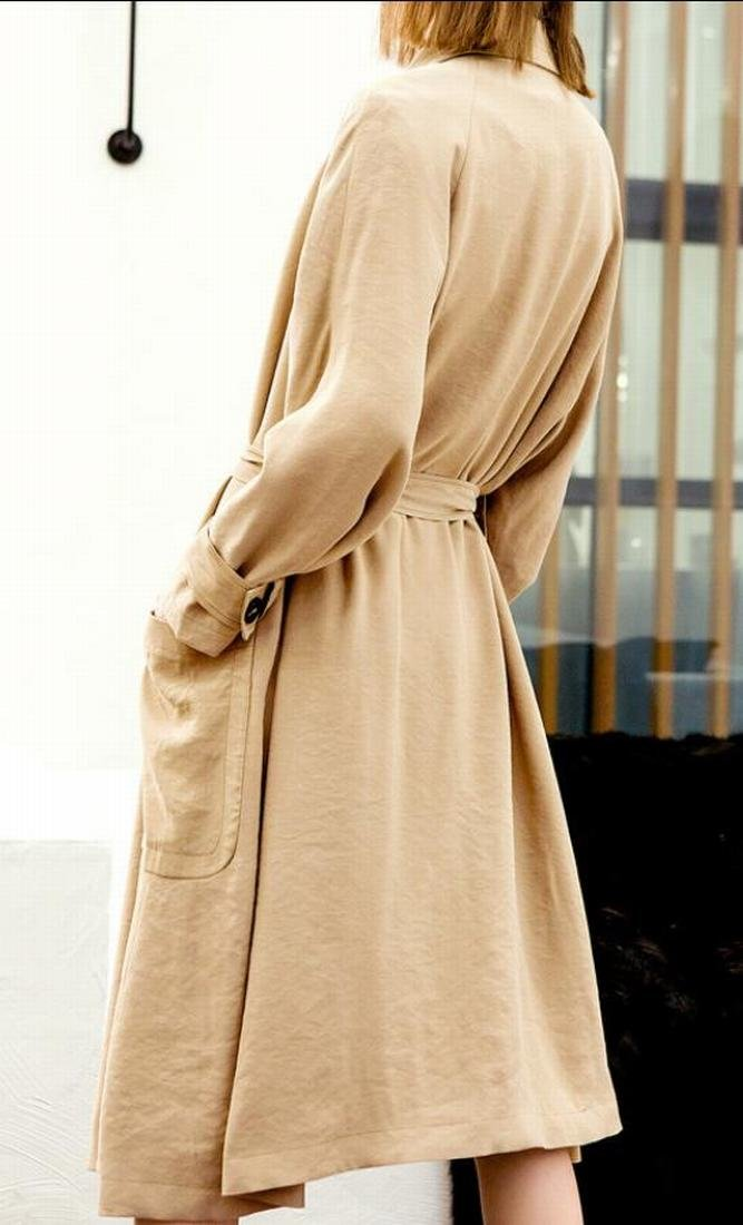M&S&W Women's Long Trench Coat Casual Elegant Lapel Waterfall Outwear Cardigan Jacket With Belt 1 M by M&S&W (Image #3)