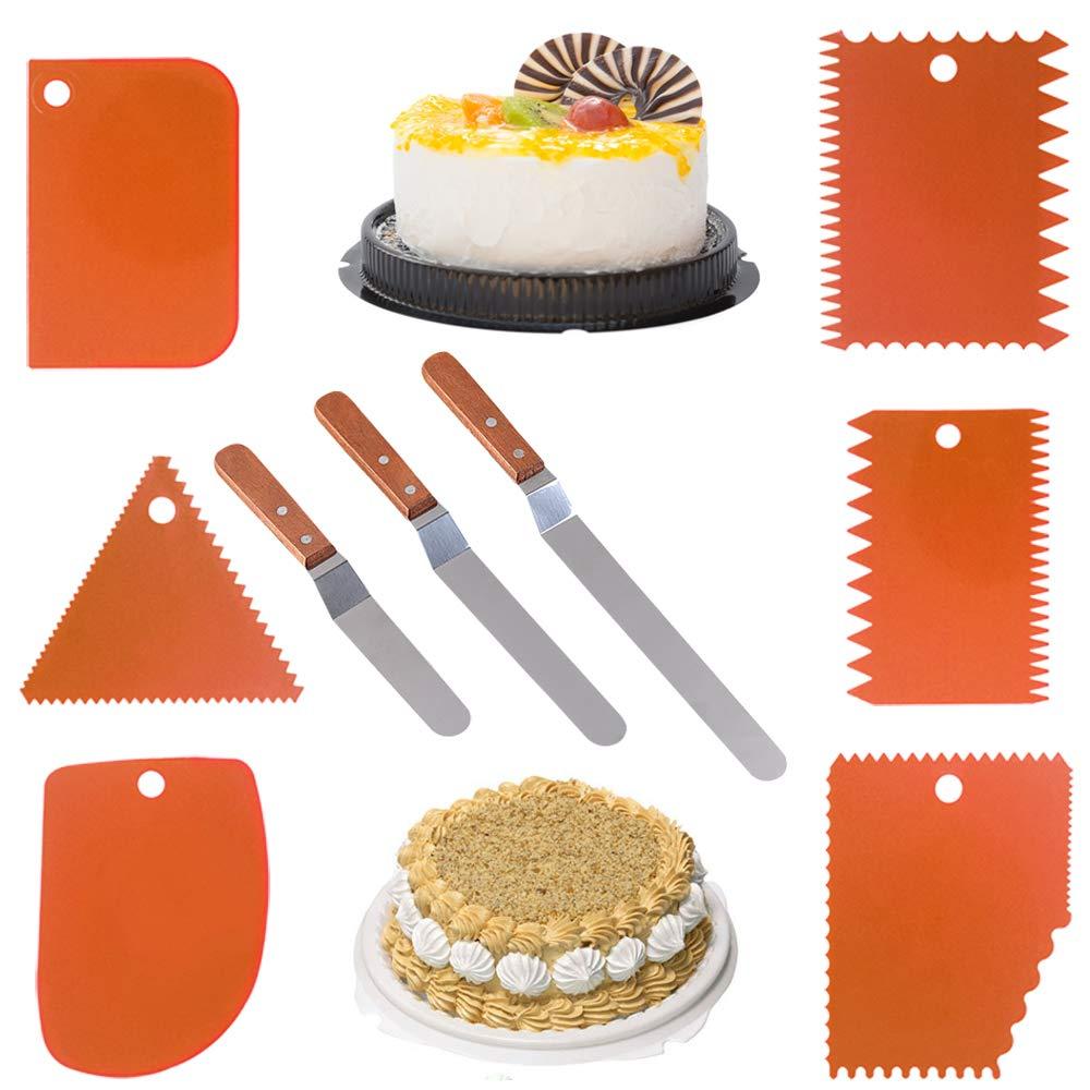 3 Angled Kuchen Sch/öpf 6 St/ück Kuchen Scraper Polierer und 6 orange Kuchen Smootwerkzeug 9,5,8, 6 SourceTon 3 Gr/ö/ßen von Icing Spatulas mit Holzgriff