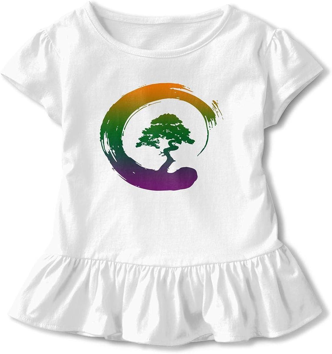 Cheng Jian Bo Funny Bonsai Tree Japanese Toddler Girls T Shirt Kids Cotton Short Sleeve Ruffle Tee