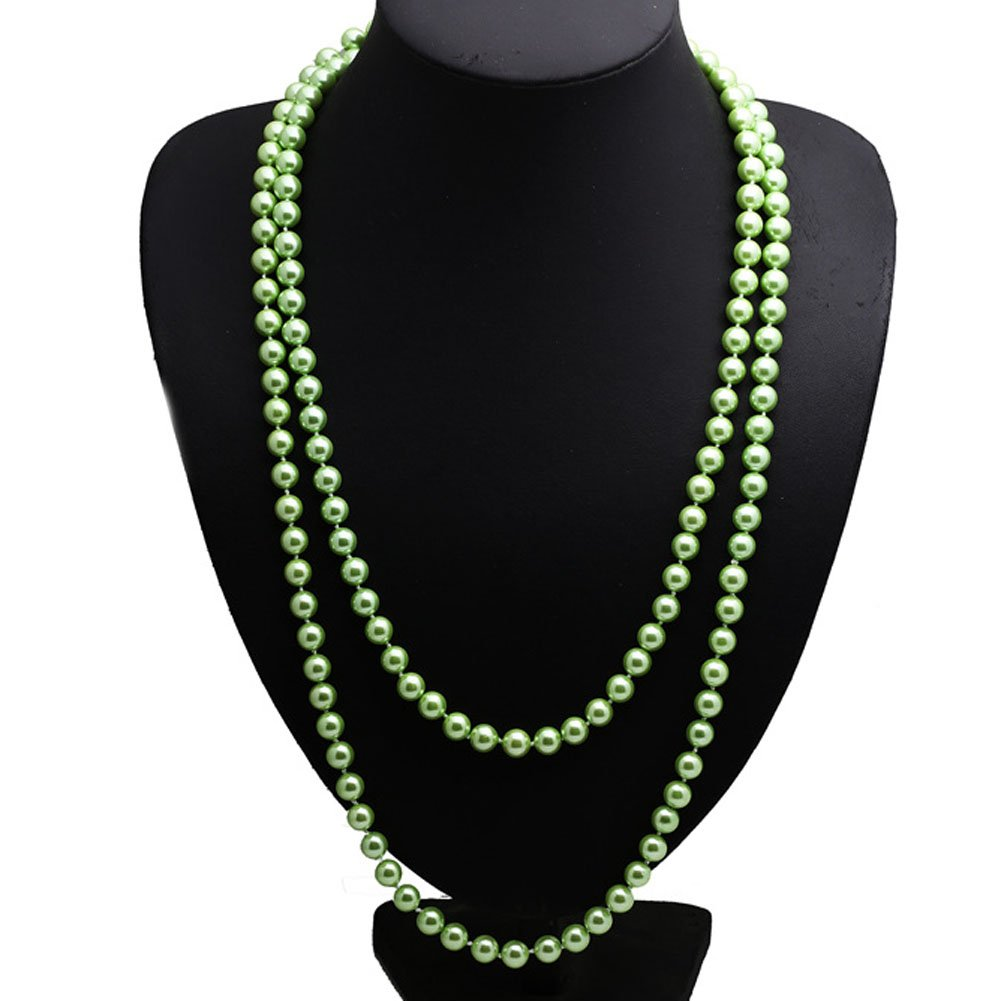 Jade Angel Luxury Green Round 8mm Shell Pearl Sweater Necklace 55 Inches