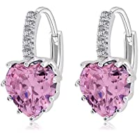 Jewellers 925 Sterling Silver Rhinestones Hoop Stud Earrings for Women