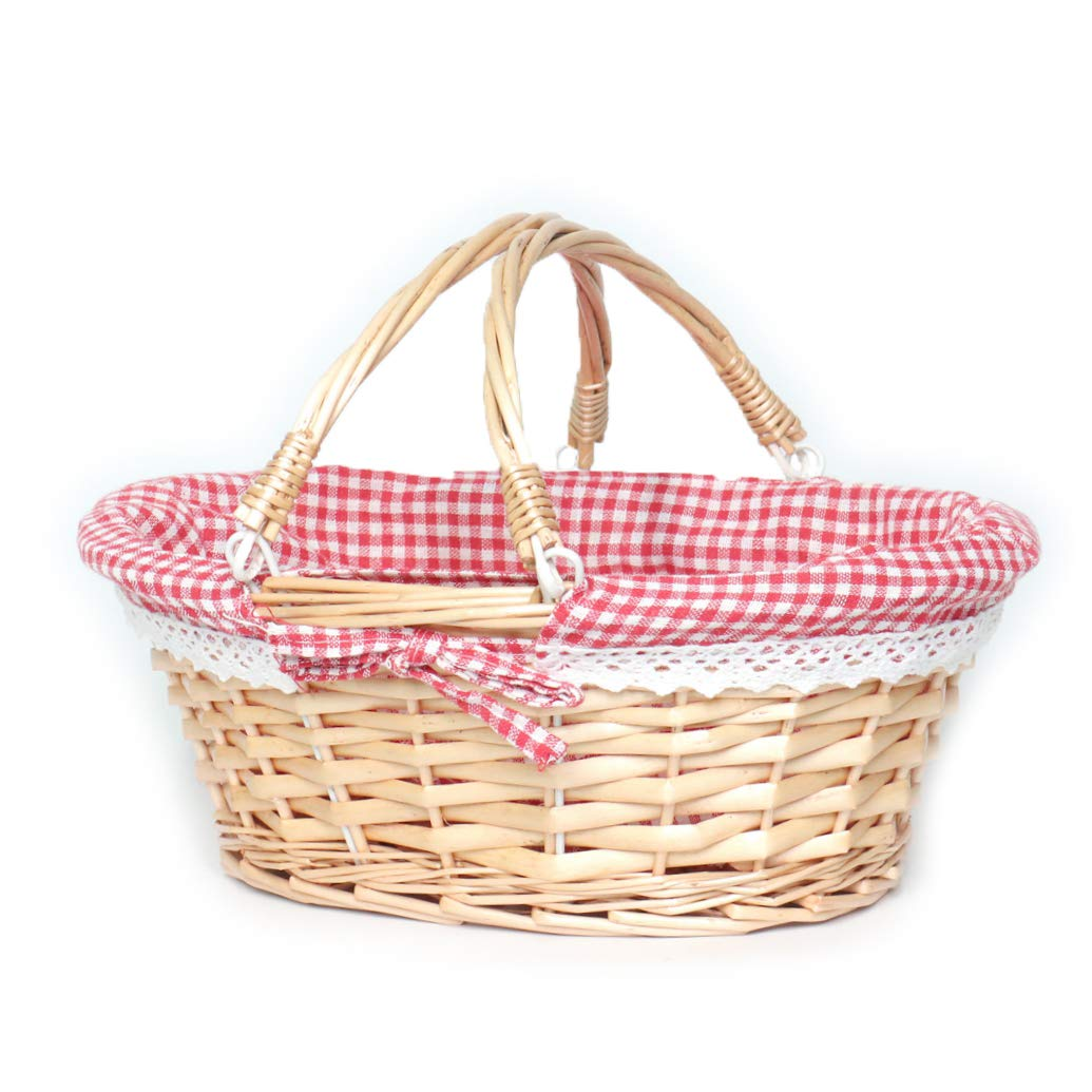 MEIEM Wicker Basket Gift Baskets Empty Oval Willow Woven Picnic Basket Cheap Easter Candy Basket Storage Wine Basket with Handle Egg Gathering Wedding Basket(Pink)