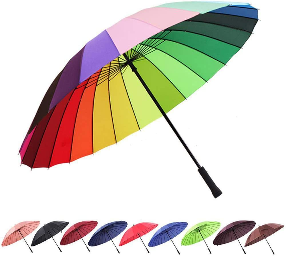 TtKj Folding Umbrella Creative 24 Bone Super Windproof Business Straight Handle Rainbow Umbrella 78114130cm