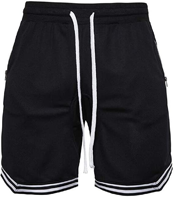 Bravepe Mens Casual Solid Zip Running Drawstring Bermuda Shorts