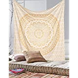 Unique Golden ombre tapestry Bohemian Mandala tapestry Home Decor , Hippie wall hanging Bedspread by Craftozone (White Gold)