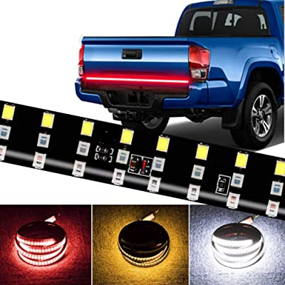 CoCsmart LED Tailgate Light Bar Triple Row, 60 Inch Tail Light Bar for Pickup Trailer SUV RV VAN,Sequential Red Brake White Reverse Amber Turn Signal Strobe Light,No Drill Install: Automotive