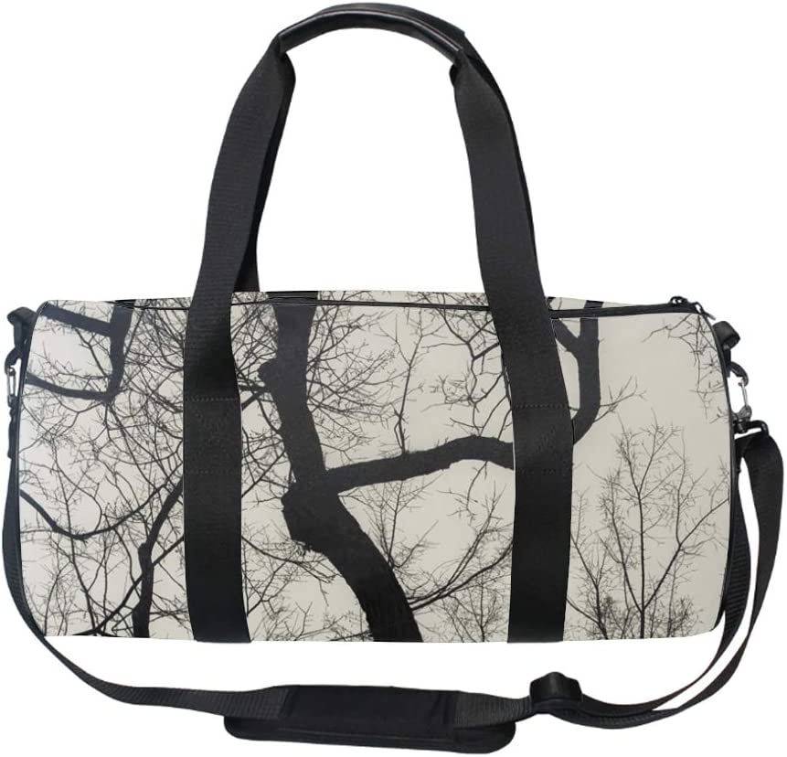 17 Blank Sports Duffle Bag Black And White Tree Gym Bag Travel Duffel with Adjustable Strap