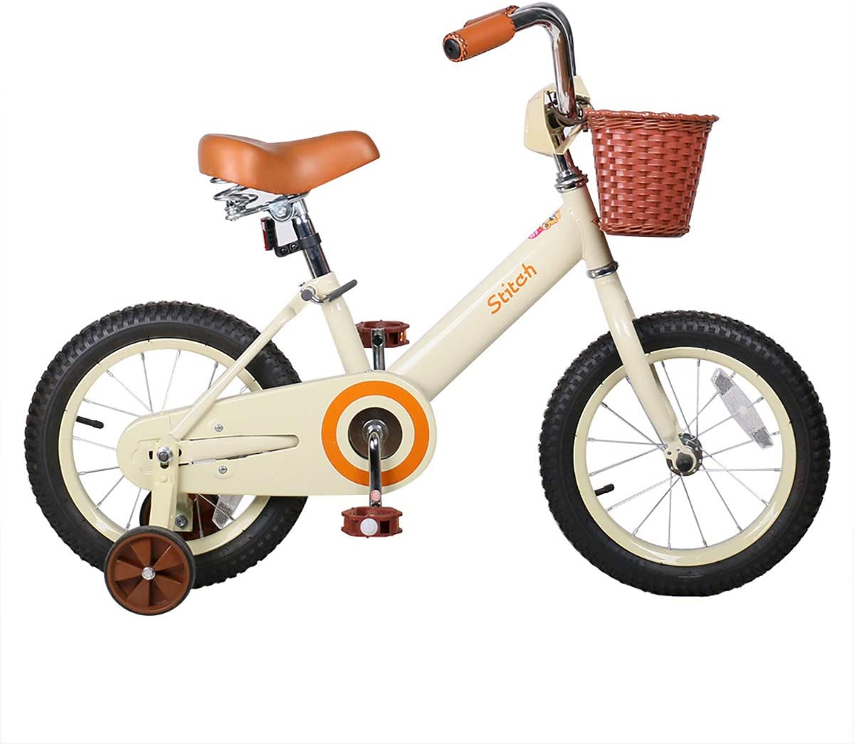 JOYSTAR 14 & 16 Inch Kids Bike with Basket & Training Wheels for 3-7 Years Old Girls & Boys (Beige & Pink)