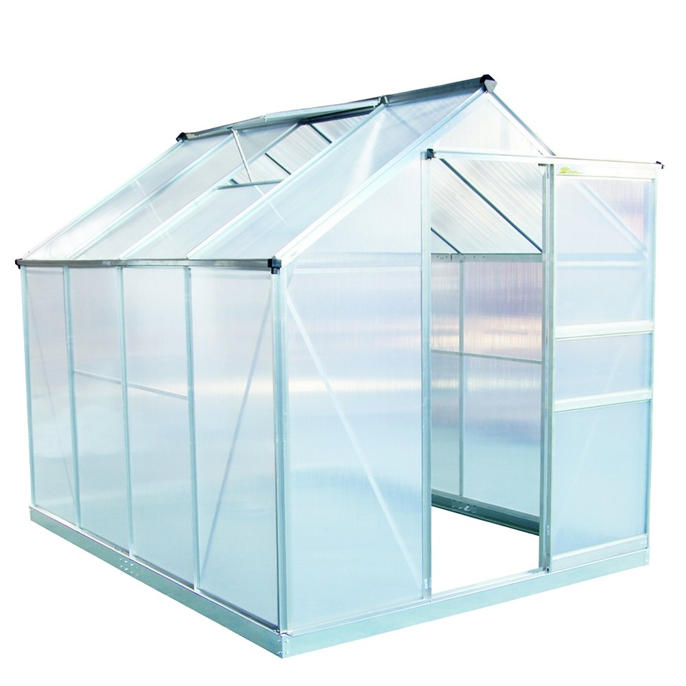 Palm Springs 6ft x 8ft Aluminum Walk in Greenhouse with polycarbonate panels