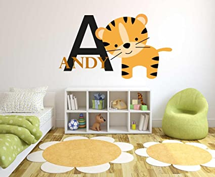 c9f5b1febfea4 Custom Name & Initial Tiger - Animal Series - Baby Boy - Nursery Wall Decal  For Baby Rom Decorations - Mural Wall Decal Sticker For Home Children's ...