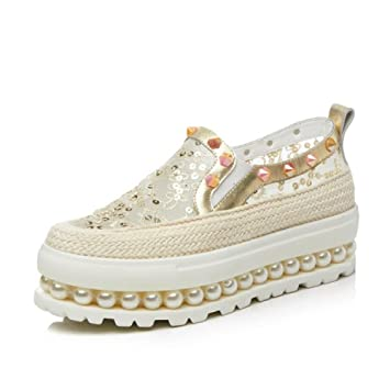 MUYII Zapatos De Plataforma De Mujer Zapatos De Mocasines De Remaches Zapatos De Hierba De Perlas Huecos,Gold-34: Amazon.es: Deportes y aire libre