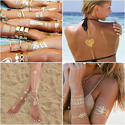 [Jewelry Inspired Metallic Tattoos. Set Of 75+ Non Toxic Exceptional Temporary Tattoos - 10 sheets] (Aphrodite Costume)