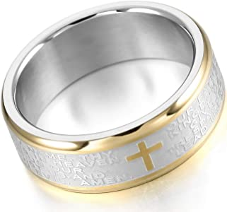2 Layers silver coloured Cross Lord/'s prayer stainless steel ring