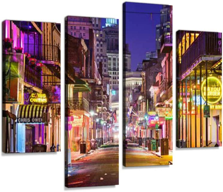 Bourbon Street New Orleans Canvas Wall Art Hanging Paintings Modern Artwork Abstract Picture Prints Home Decoration Gift Unique Designed Framed 4 Panel