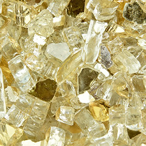 Gold Strike - Fire Glass for Indoor and Outdoor Fire Pits or Fireplaces | 10 Pounds | 1/4 Inch, Reflective (Fireplace Glass Tempered)