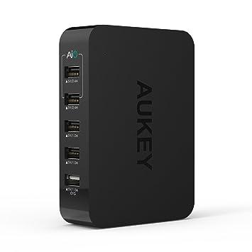Aukey® Cargador USB, Cargador universal, Wall charger con AIPower Tech (39W 5V / 7.8A 5 Puertos) Cargador portátil, Cargador de pared Adaptador USB ...