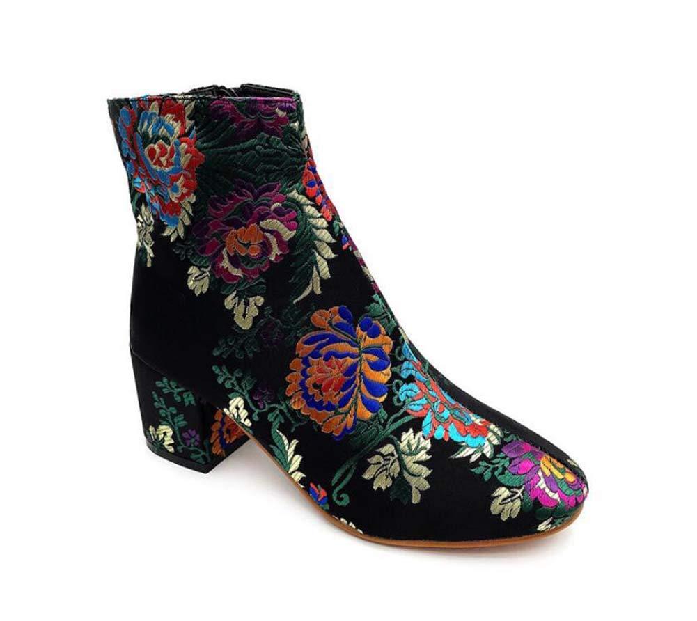 Mamrar Women Embroidery Ankle Boots 6Cm Chunkly Heel Zipper Colormatch Dress Shoes Court Shoes EU Size 35-40,Black,40EU