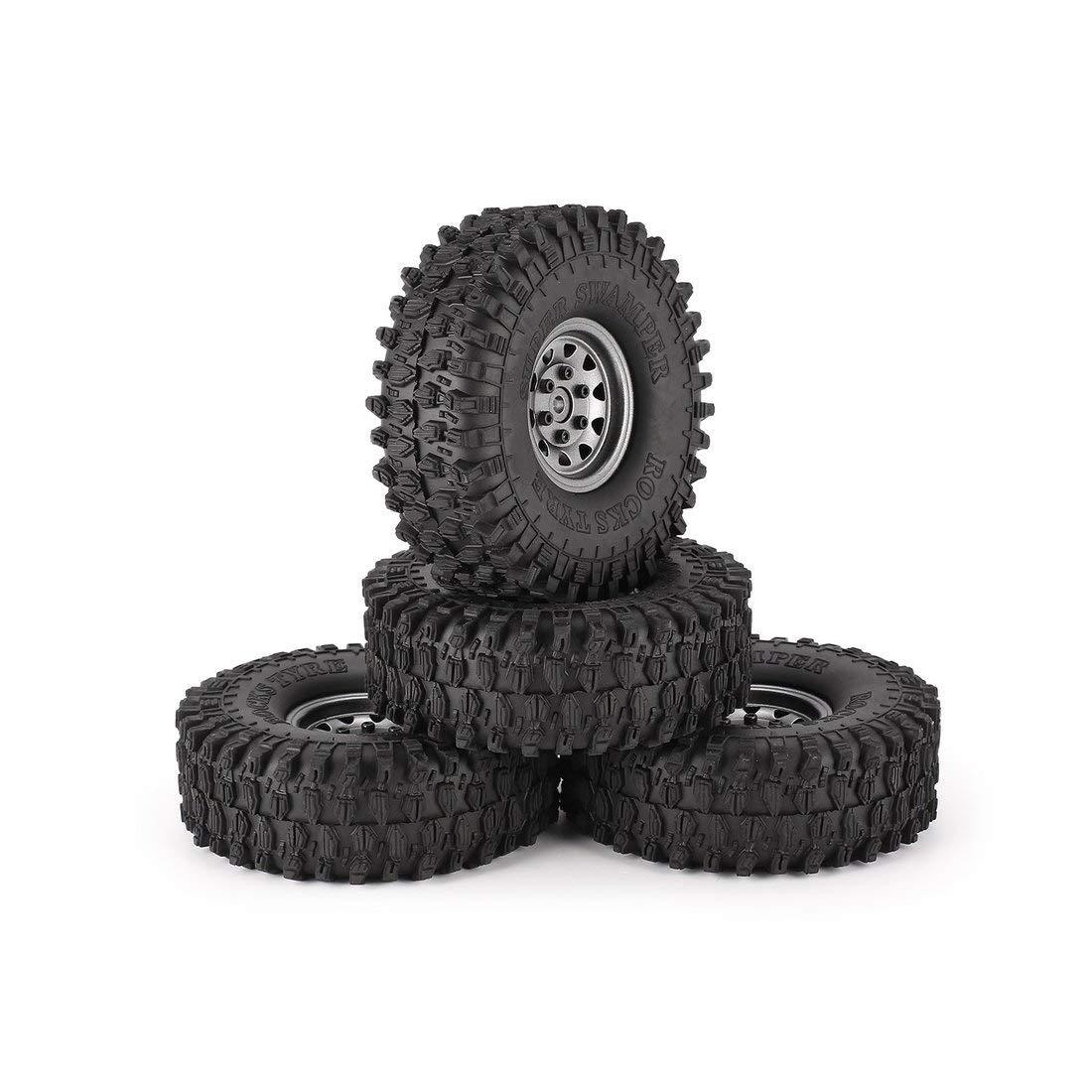 Formulaone 4Pcs 1.9 Pulgadas Llantas de Goma de 120 mm Neumático con Borde de Rueda de Metal para 1/10 Traxxas TRX-4 SCX10 RC4 D90 RC Parte de Oruga