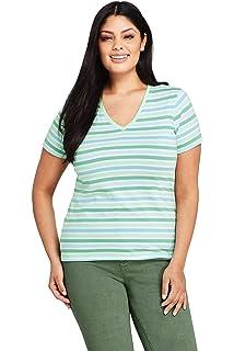 8d3b795d1a7ca3 Lands' End Women's Plus Size Stripe Relaxed Short Sleeve Supima Cotton V- Neck T