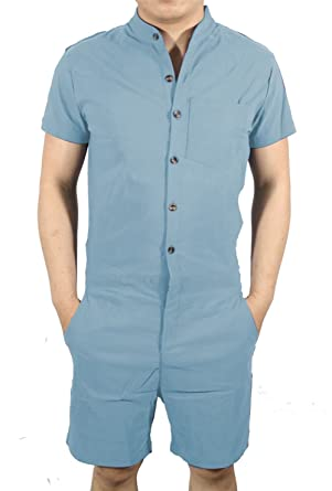 73077337c1f Amazon.com  MAXIMGR Mens Short Sleeve Jumpsuit Casual Short Cargo Pants Rompers  Overall  Clothing