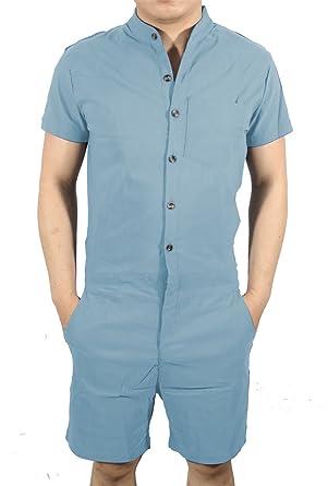 56e671fd074d Amazon.com  MAXIMGR Mens Short Sleeve Jumpsuit Casual Short Cargo Pants Rompers  Overall  Clothing
