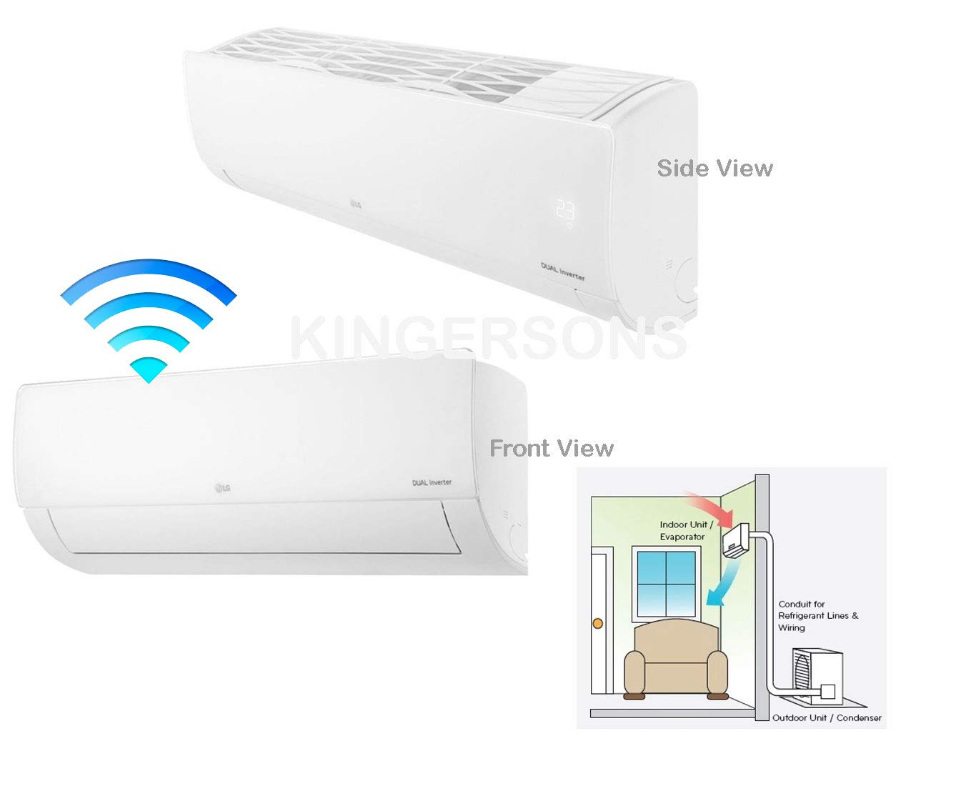 Energy Star SEER 21.5 LG LS243HLV 22000 BTU High Efficiency WiFi Accessible Single Zone Mini Split System with Extended Pipe