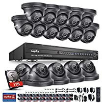 SANNCE 16 Channel Full 1080P DVR Security System with 1 TB Surveillance Hard Drive and (16) 1280TVL Weatherproof Dome Cameras , Infrared Superior Night Vision,P2P & QR Code Scan Remote Access