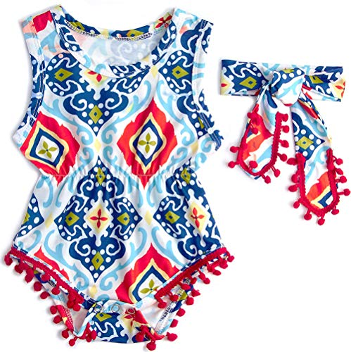 (Leapparel Children's Sweet Cartoon Body Suits Sprint Summer Outfit Dresses 1-2T Baby Girl Palysuits Outfit Headband)