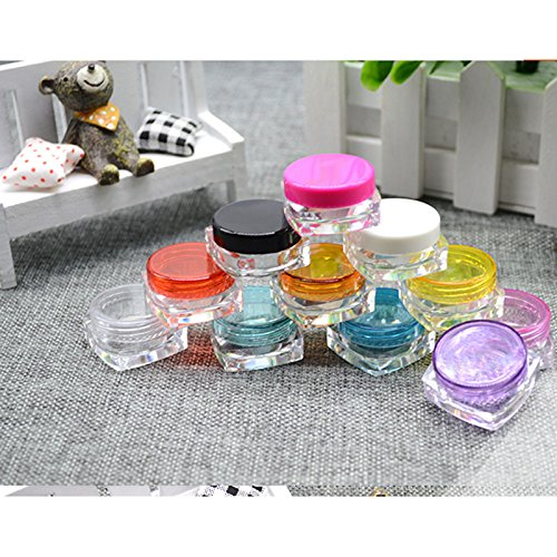 Bottom Jar (10PCS, Empty,Multiple colors,Cosmetic Containers 5 Gram Size Pot Jars,easy to travel carry-a square bottom with a round cover & Free Pressure Sensitive Piece)
