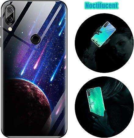Cover Huawei P20 Lite, Custodia Huawei P20 Lite, Cover Silicone Nottilucenti Luminoso Cristallo Case Vetro Temperato 3D Fluorescente Ultra Sottile ...