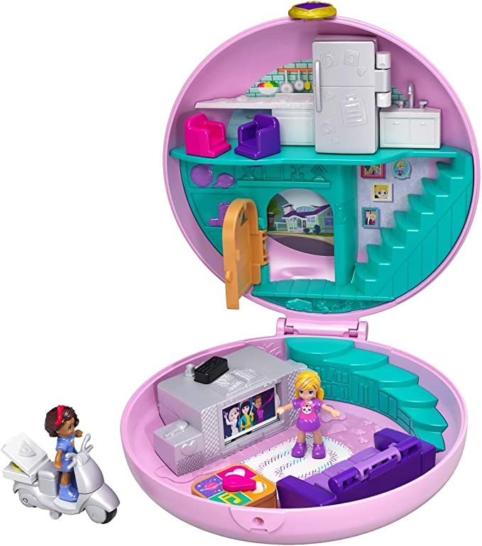 Polly Pocket GDK82 Pyjama Party Box Doughnut Living Room with Polly and Shani, Girls' Toy from 4 Years, Single, multicoloured: Amazon.de: Spielzeug