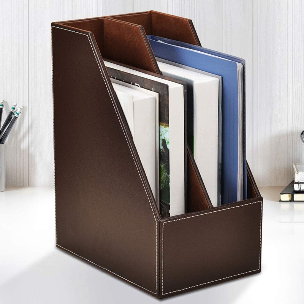 YCYG File Rack Desktop Organizer, File Sorter Desk Organizer Made of Leather Folders, Clipboards, and More Desktop Organization for Home, Office, School, and Store (Color : D) by YCYG