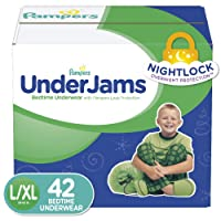 Pampers UnderJams Disposable Bedtime Underwear for Boys, Size L/XL, 42 Count, Super...