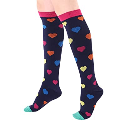 Misassy Womens Casual Compression Socks Funny Colorful Cotton Knee High Socks Best For Running,Athletic,Medical,Pregnancy and Travel