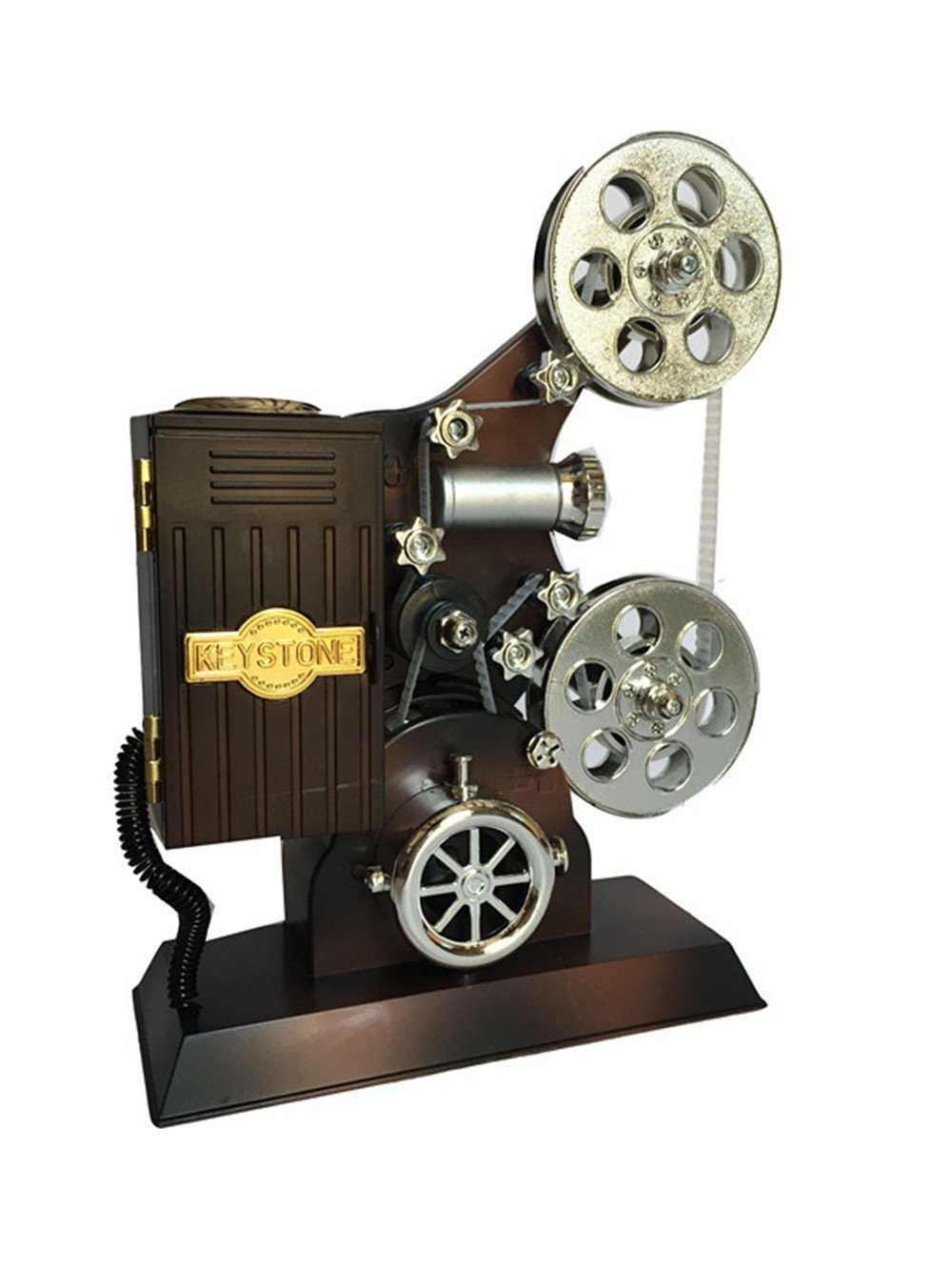 Wind up Music Box Vintage Look Music Box With Jewelry Box - Table Desk Decoration and Gift (Movie Projector, Brown)