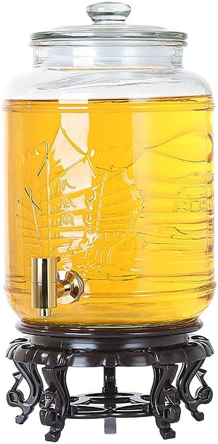 NZKW Dispensador Bebidas Vidrio con Grifo, Frasco Bebida 5/9 ...