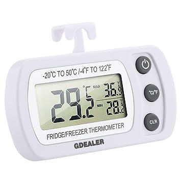 Termómetro Digital para refrigerador, gdealer habitación termómetro para frigorífico y congelador con gancho Max/