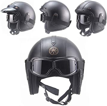 Casco De Moto De Vintage con Gafas Casco De Protección De
