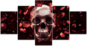 Red Rose Painting on Canvas Skull Feature Skeletons Design Wall Art,Petal Giclee Day of The Dead Artwork Pictures Abstract Framed Decor for Living Room 5 Panel Stretched Ready to Hang(50''Wx24''H)