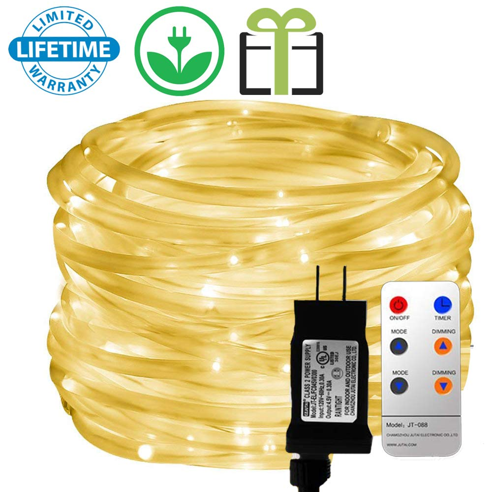 Outdoor LED Rope Lights, Malivent Remote 33foot 136 LED Swimming Pool Indoor Rope Lights, 8 Modes/Timer, Tube Lights Waterproof Color Changing String Lights for Garden Patio Party (Warm White)
