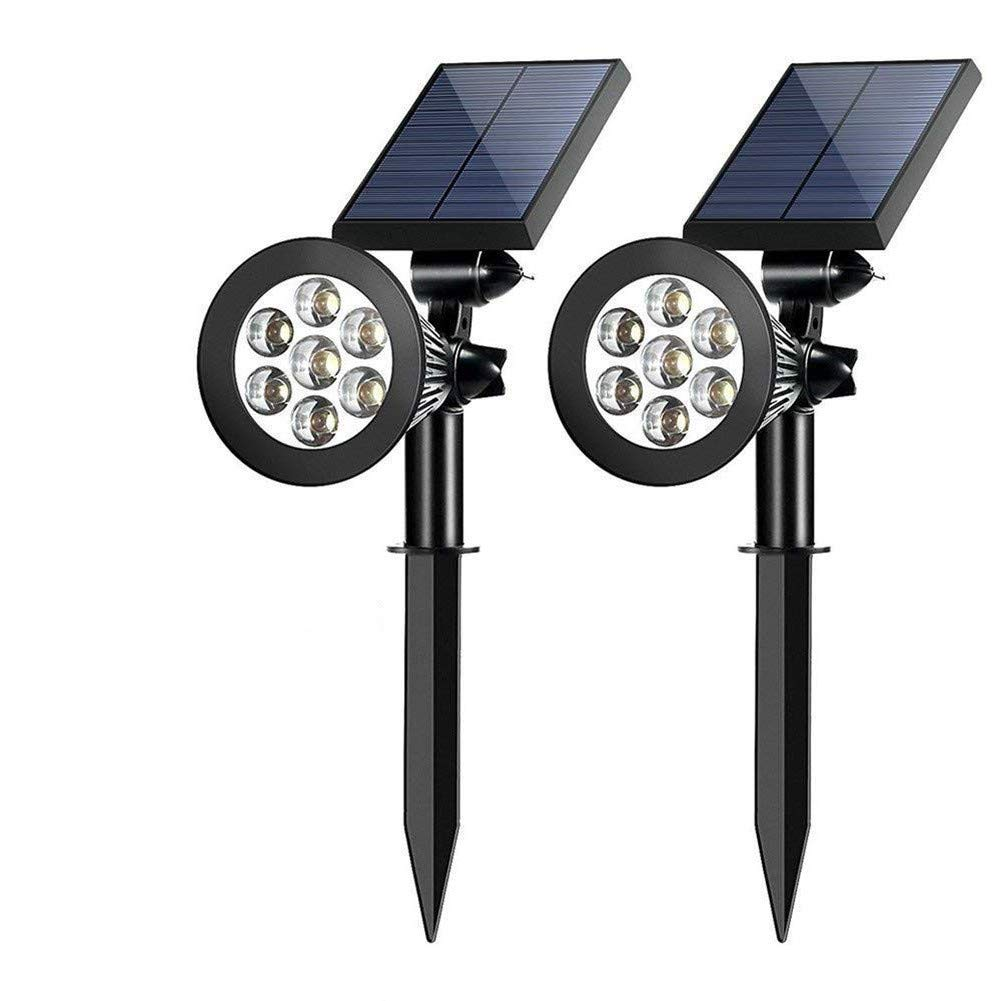 Sunklly Solar Spotlight 7 Led 2-in-1 Waterproof Outdoor Solar Adjustable Landscape Spotlights Lawn Garden Patio Deck Yard Driveway (2 Pack)