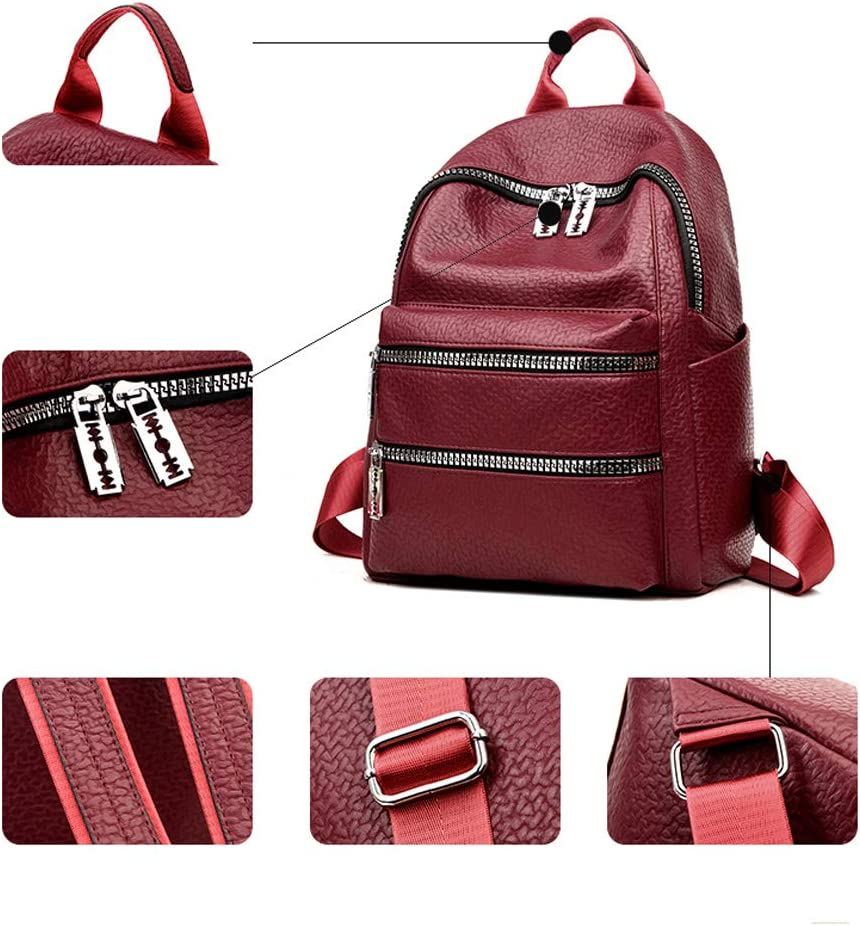 PU Leather 8haowenju Girls Multifunctional Backpack for Daily Travel//Tourism//School//Work//Fashion//Leisure Color : Black, Size : 27cm37cm11cm Black//red Simple and Large Capacity Latest Models