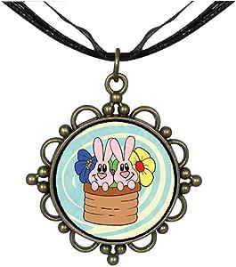 Chicforest Bronze Retro Style Bunnies In A Basket Round Flower Pendant