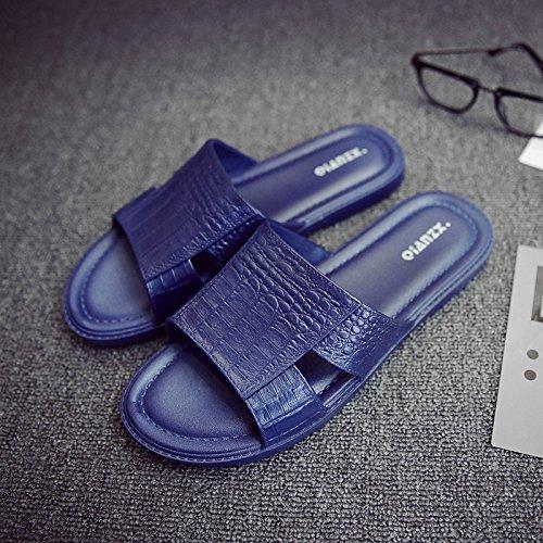 fankou Europa y América Ola de Frío Verano Indoor Masculino Zapatillas Estancia Baño Suave Antideslizante Personalidad Inferior, 43-44, Azul Oscuro