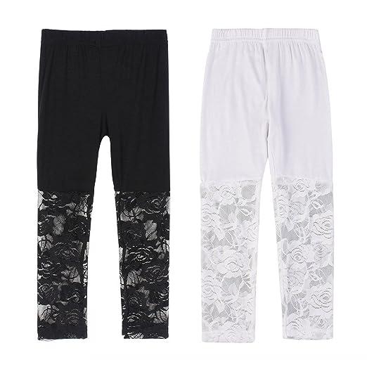 f6b9f3ff410c65 Weixinbuy Kid Baby Girl's Lace Tight Legging Pants Comfy Capri Summer (2-3Y,
